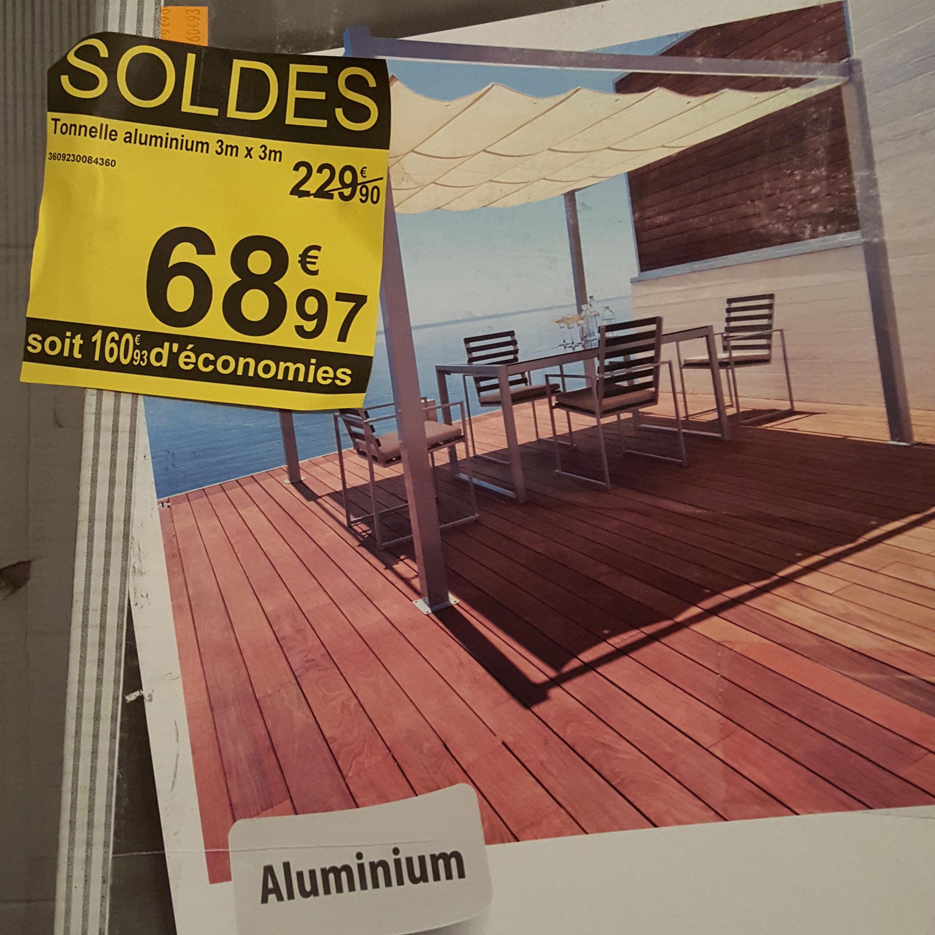 Tonnelle Bahia Carrefour en aluminium avec toile coulissante - 3x3m