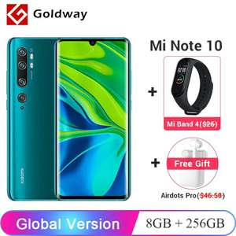 """Smartphone 6.47"""" Xiaomi Mi Note 10 Pro - 8 Go RAM, 256 Go + Airdots Pro + Mi Band 4 - Divers Coloris"""