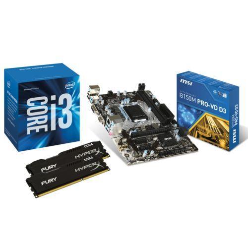 Kit : Processeur Intel Core i3 6100 + Carte mère MSI B150M PRO-VD D3 + 2x4 Go DDR3 Kingston HyperX Fury 1600 MHz