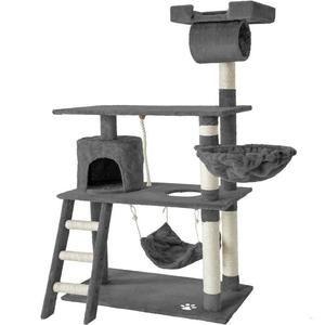 Arbre à chat Tectake 141 cm - Griffoir + Cabane + Corde de jeu + Hamac (Vendeur tiers)