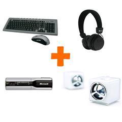 Webcam Microsoft NX-3000 + Clavier et souris NGS sans Fil Opt + Enceintes Samsung PSP100 + Casque Beewi Stéréo BT BBH120 Noir