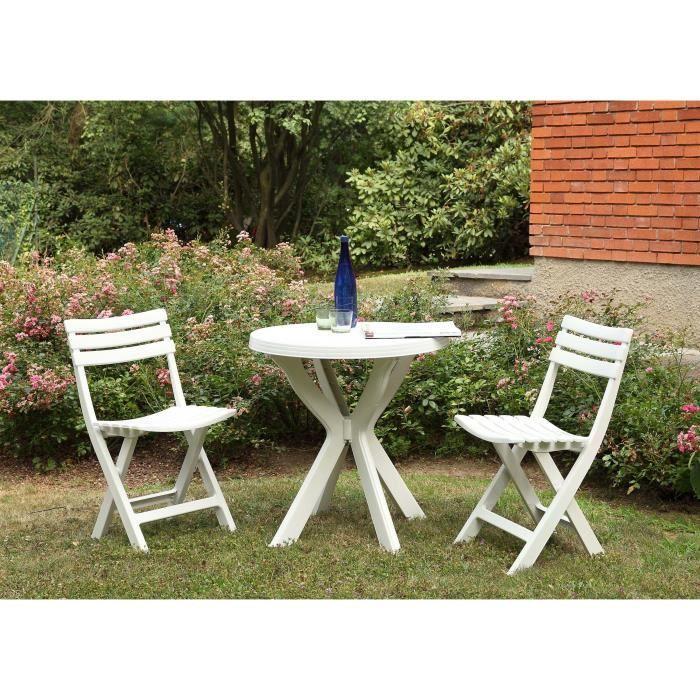 Salon de jardin & balcon pour 2 personnes (Table ronde + 2 chaises pliantes)