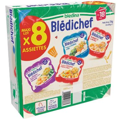 Lot de 8 assiettes Blédina Blédichef - Variétés au choix, 8 x 250g