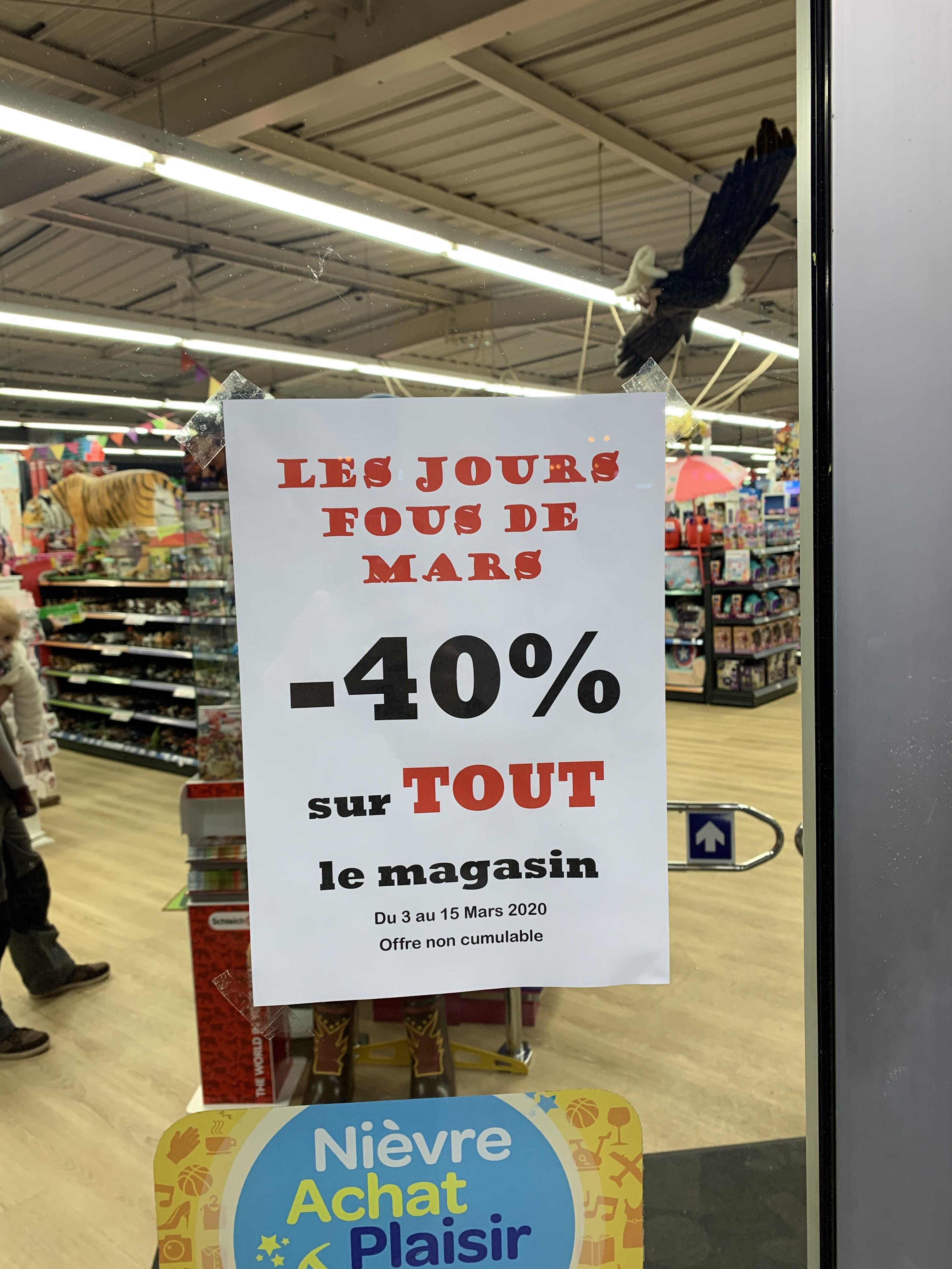 40% de réduction sur tout le magasin - Nevers (58)