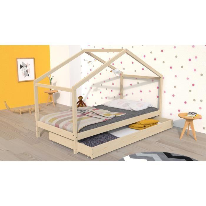 [CDAV] Lit cabane enfant avec tiroir Koala - 90 x 190 cm
