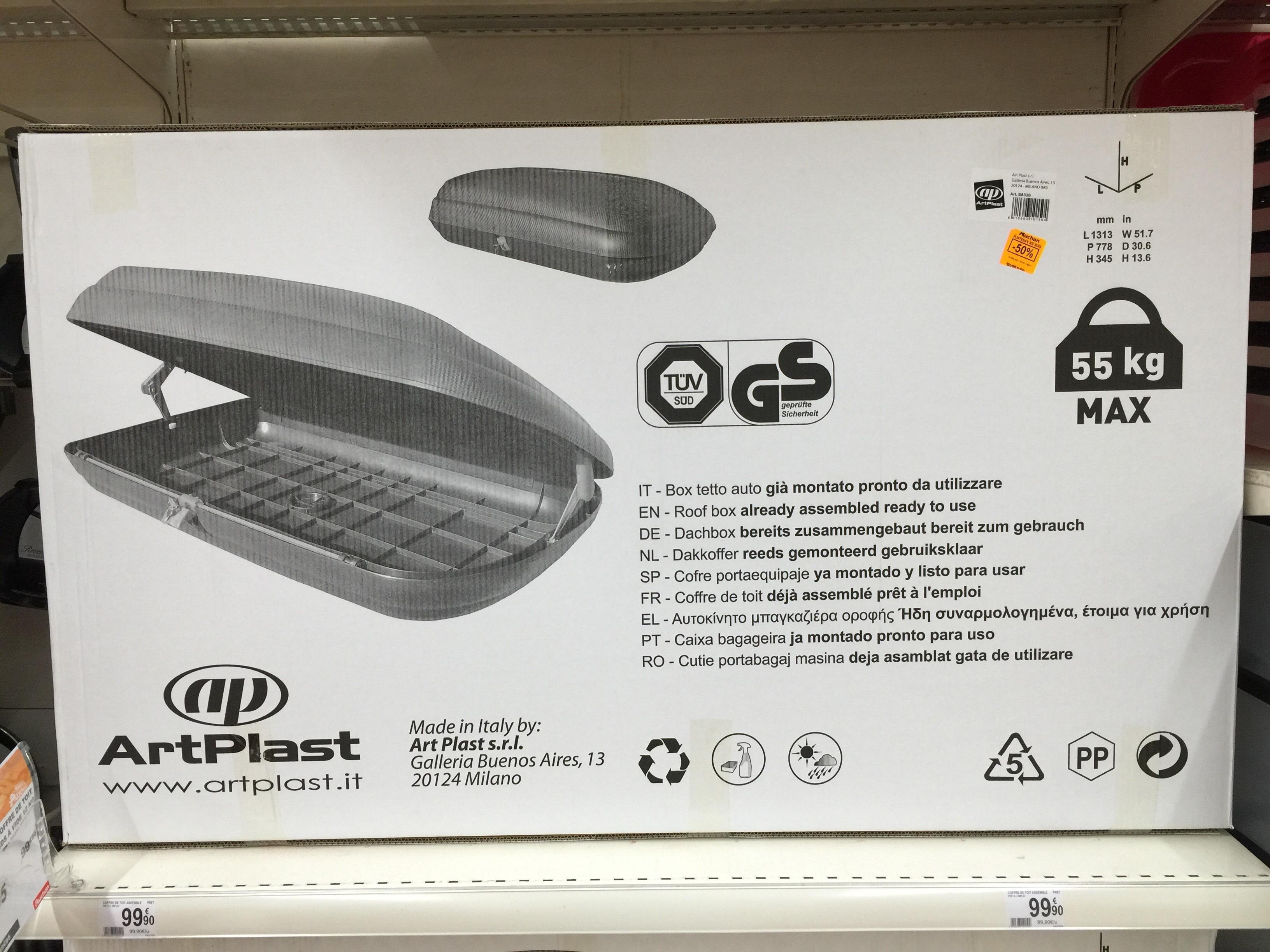 Coffre de toit ArtPlast BA320 (Max 55 kg)