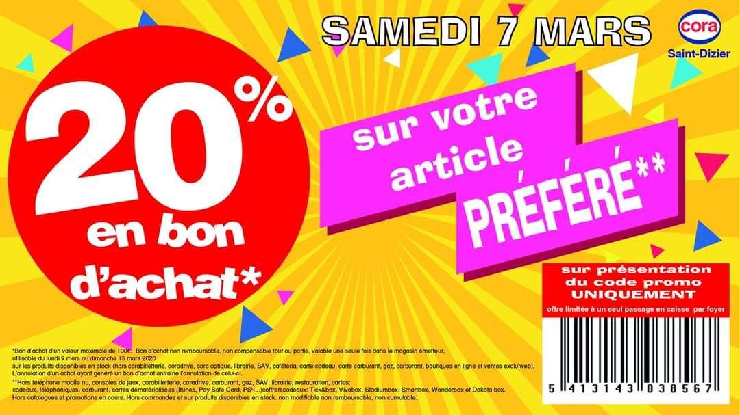 20% de l'article de son choix crédité en bon d'achat (100€ Maximum) - Saint-Dizier (52)