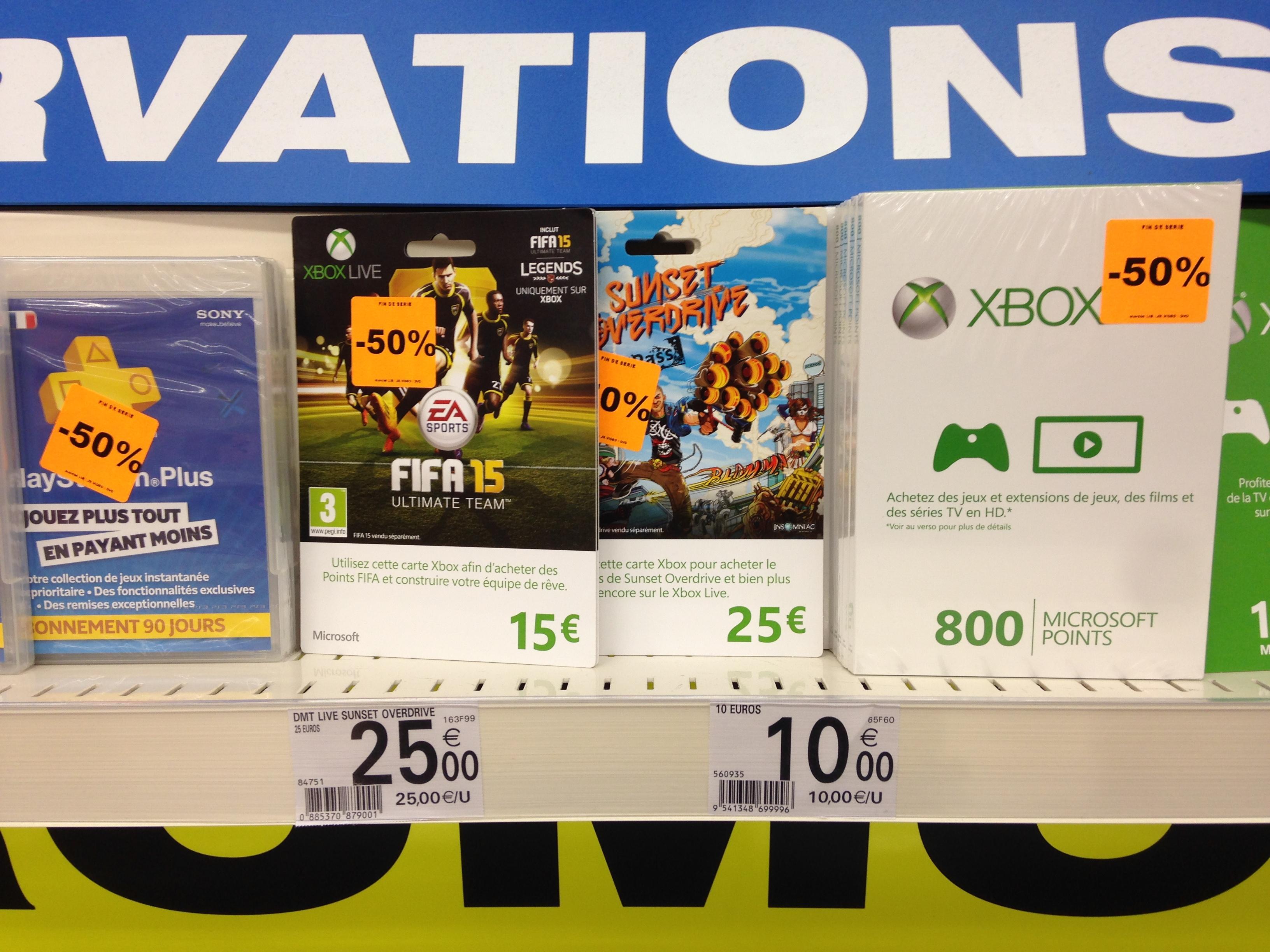50% de réduction sur une sélection de Cartes Xbox Live - Ex : Carte prépayée de 25€