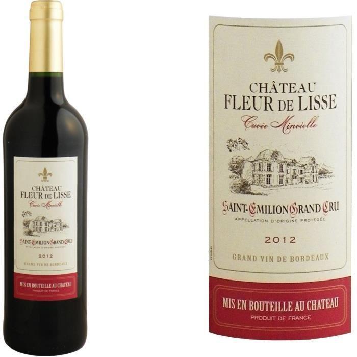 Carton de six bouteilles de vin rouge Saint Emilion Grand Cru 2012 - Chateau fleur de lisse