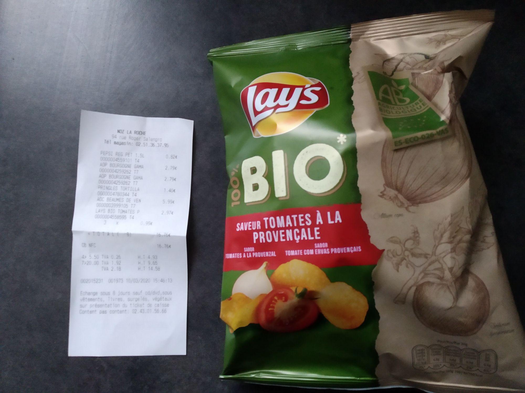 Paquet de chips Lay's Bio Saveur Tomates à la Provençale - 100 g (via Shopmium) - La Roche-sur-Yon (85)