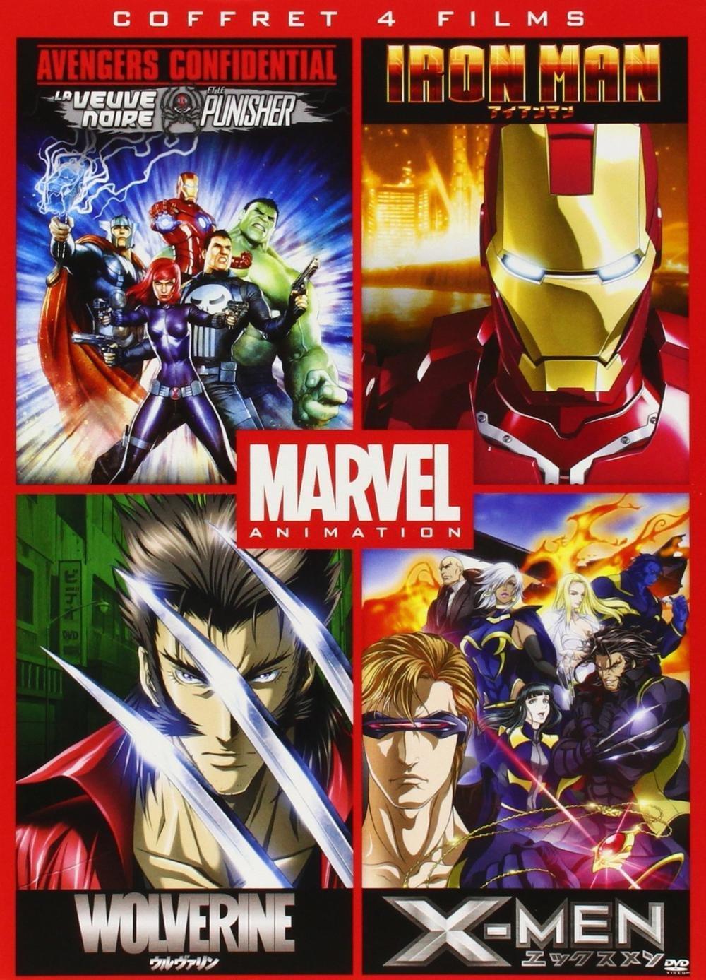 Coffret DVD Marvel Animés : Iron Man + Wolverine + X-Men + Avengers Confidential