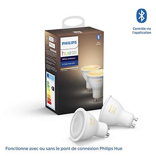 Pack de 2 Ampoules LED Connectées Philips Hue White Ambiance GU10 - Compatible Bluetooth, Fonctionne avec Alexa