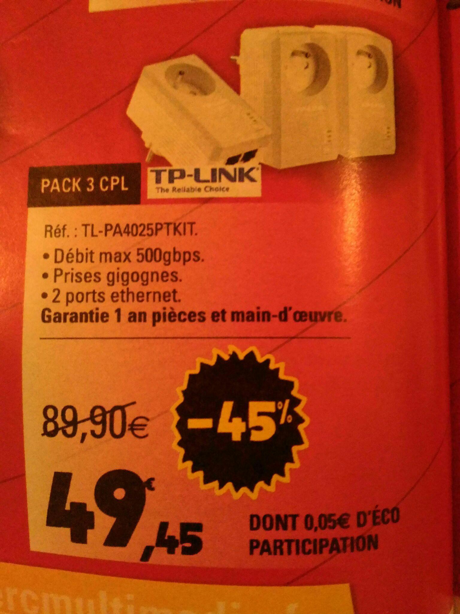 Pack de 3 CPL TP-Link TL-PA4025PTKIT 500 Mpbs (2 Ports Ethernet, Prise Intégrée)