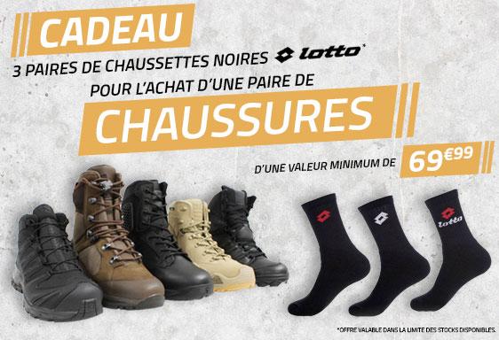 3 paires de chaussettes Lotto offertes pour l'achat d'une paire de chaussures de 69.99€ minimum (vetsecurite.com)