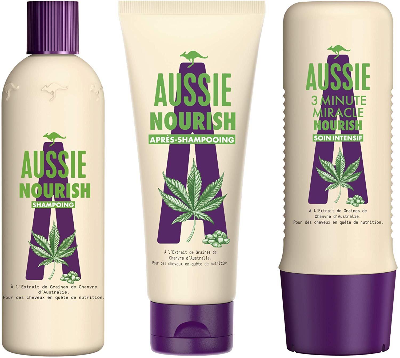 Shampoing/Après-Shampoing /Soin Intensif Nourrissant pour Cheveux Secs/Abîmés Aussie Nourish à l'Extrait de Graines de Chanvre
