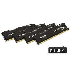 Lot de 4  barrettes de Ram  Kingston  4 Go (16 Go) Fury DDR4 2133MHz CL14