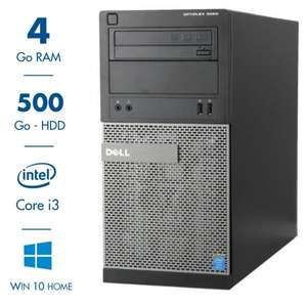 PC de bureau Dell Optiplex 3020 MT - Core i3-4130, 4 Go RAM, 500 Go HDD, Lecteur DVD-RW, Windows 10 Home (Reconditionné - Garantie 1 an)