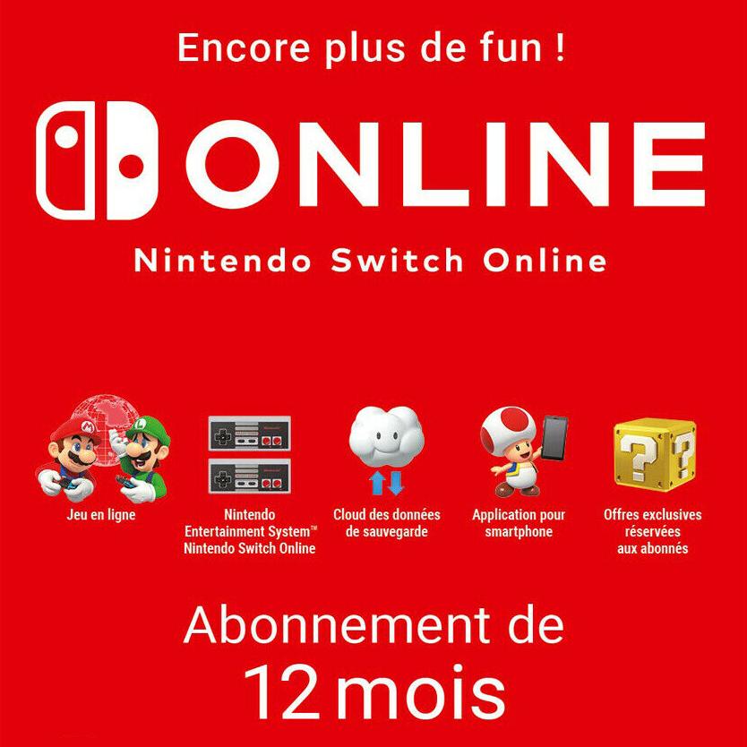 Sélection de cartes Jeux Vidéo (Dématérialisés) - Ex : Abonnement Nintendo Switch Online - 12 mois (12.99€ avec le code POURVOUS5)