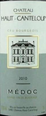 Bouteille de vin Château Haut Canteloup Médoc Cru Bourgeois 2010 - 75cl
