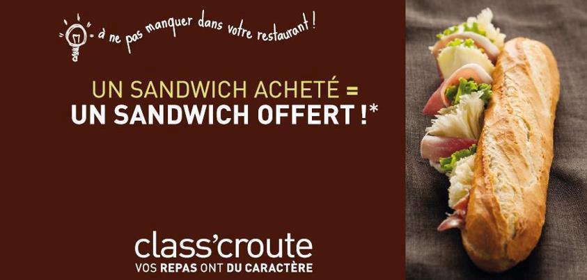 1 sandwich acheté, le 2ème offert + Badoit Citron Vert 100% remboursée