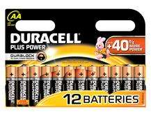 Lot de 12 piles Duracell Duralock AA - Plus Power (LR6)