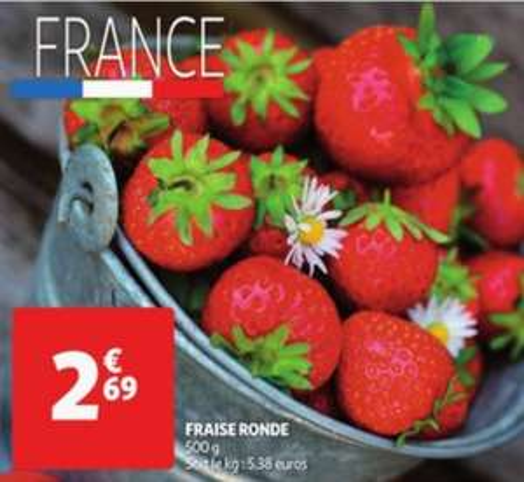 Barquette de fraises - 500g, Catégorie 1, Origine France