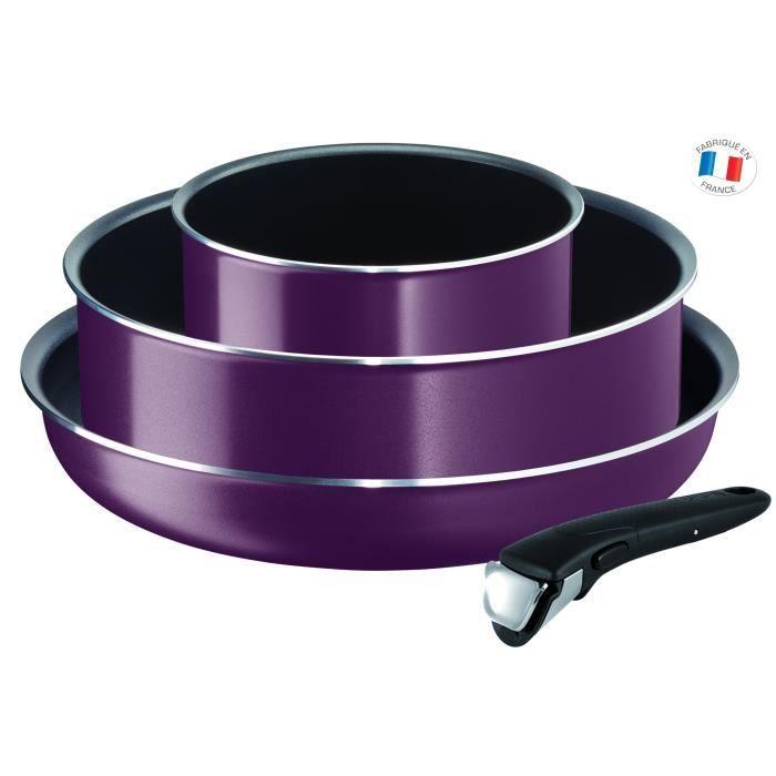 Batterie de cuisine Tefal Ingenio Essential - 4 pièces, violet, tous feux sauf induction