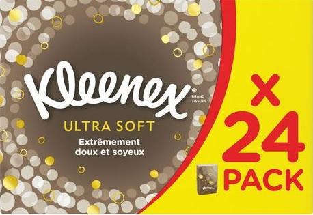 Boîte de 24 Paquets de Mouchoirs étuis Kleenex ultra soft (via 1,78 € sur la carte fidélité)