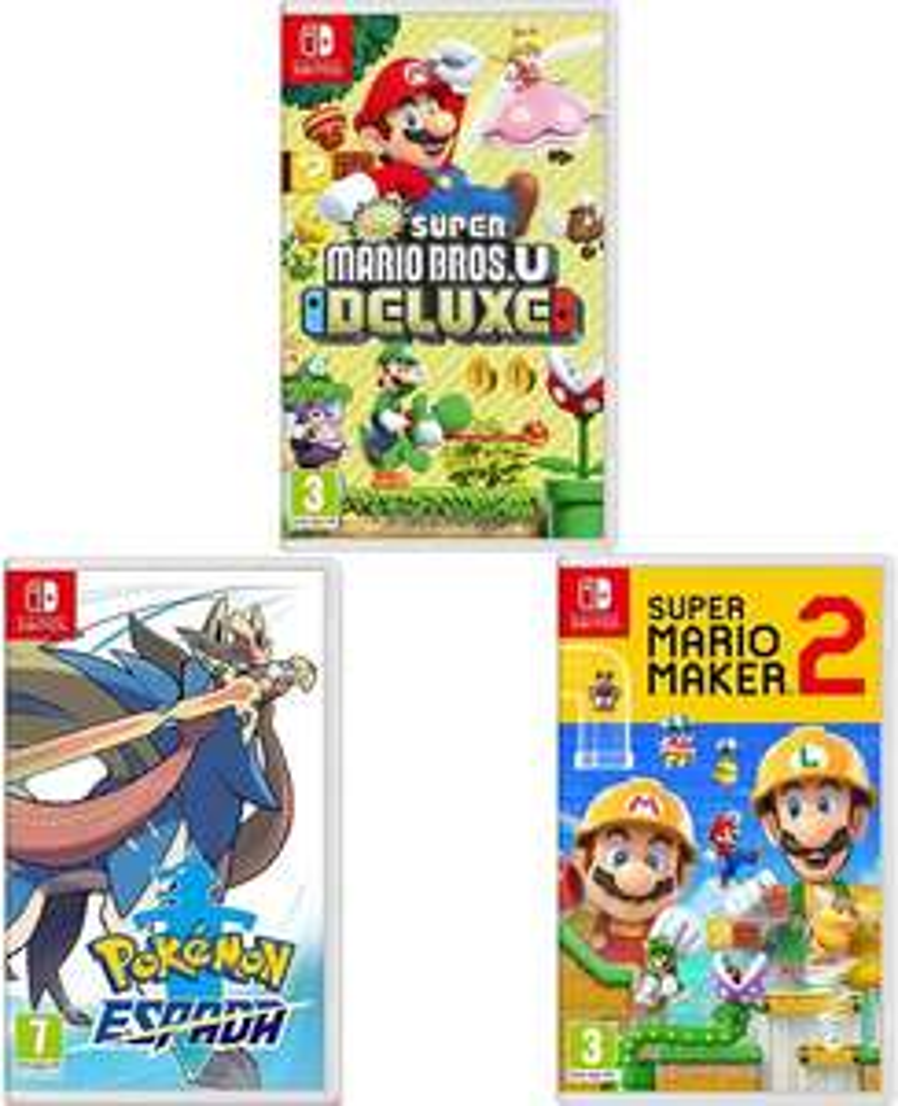 Sélection de packs de jeux vidéo sur Switch à 102.05€ - Ex : New Super Mario Bros. U Deluxe + Pokémon - Épée + Super Mario Maker 2