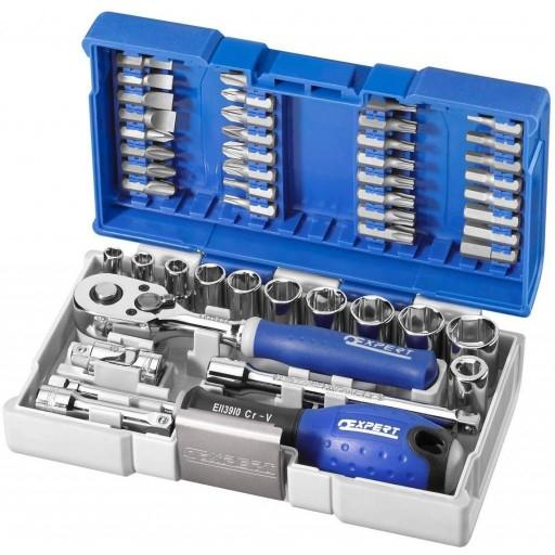 """Coffret clés à cliquet et douilles + embouts 1/4"""" Expert by Facom- 48 pièces (toolsense.co.uk)"""