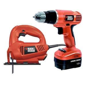 Pack Black & Decker Perceuse 12V + Scie sauteuse 400W