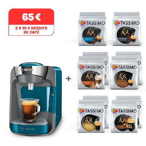 Sélection de packs en promotion - Ex: Cafetière à capsules Bosch Siny + lot de 12 paquets de dosettes de café (différents types)