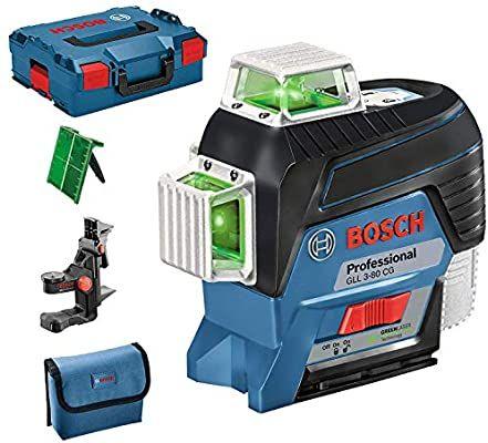 Niveau Lignes laser Bosch Professional GLL 3-80 CG - Laser vert, Bluetooth, Support, Portée 30m, avec L-BOXX (passiontec.fr)