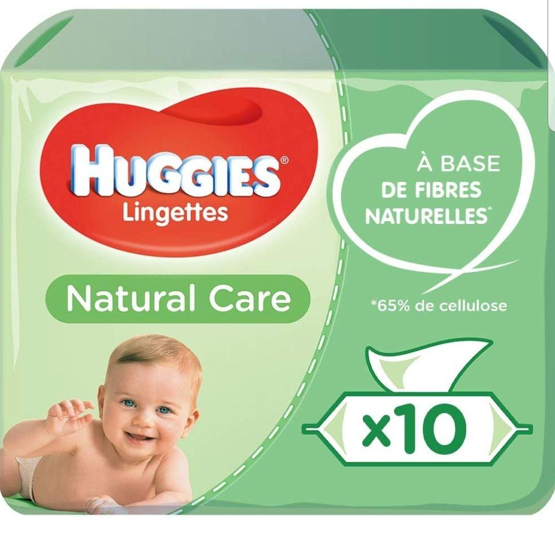 2 Lots de 10 packs de 56 lingettes Huggies Natural Care