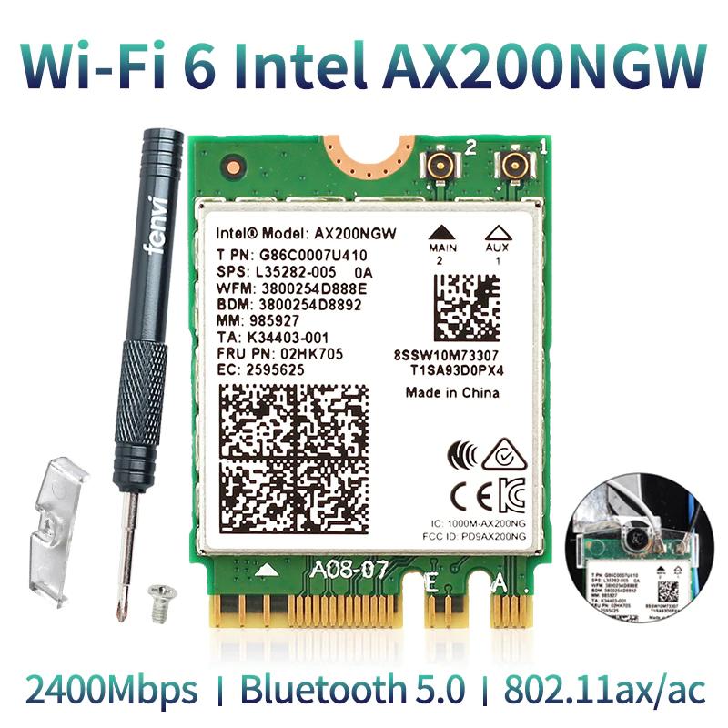 Carte WiFi AX200NGW - NGFF M2 2230, BT 5.0, 2.4G/5G, 802. 11ac/ax