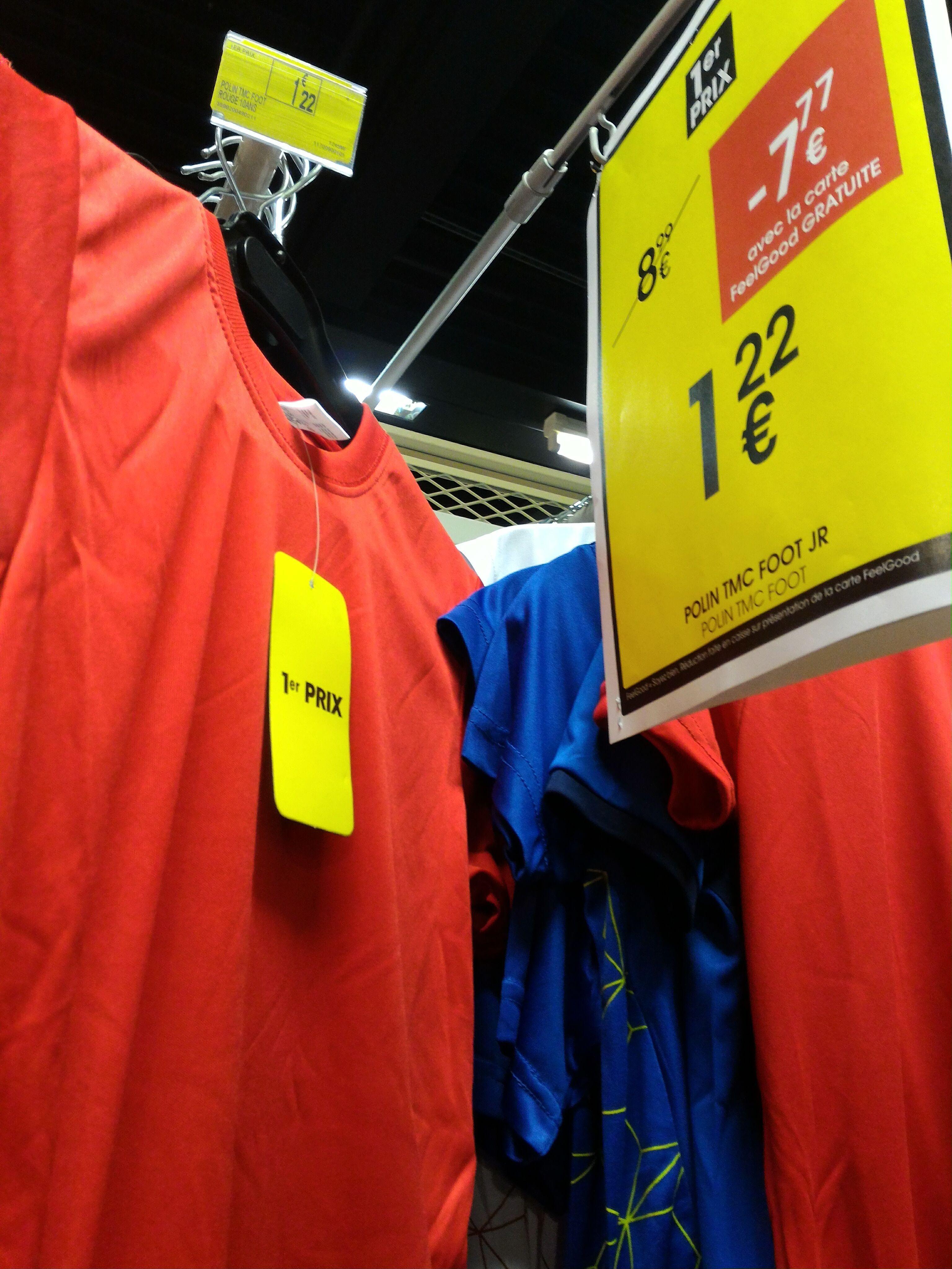 [Carte Feelgood] T-Shirt de football Junior - Rouge ou Noir