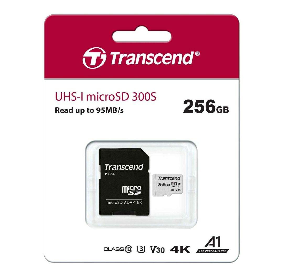 Carte micro SDXC Transcend 300S - 256 Go, V30 U3 + Adaptateur SD