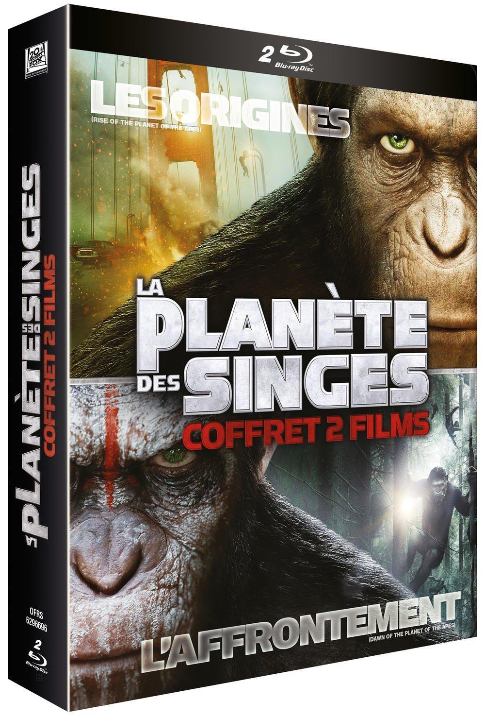 Coffret Blu-ray : La Planète des Singes : Les origines + La Planète des Singes : L'Affrontement