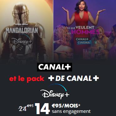 [18 - 25 ans] Abonnement mensuel sans engagement au bouquet de chaînes Canal+ (Cinéma, Series, Family...) et Disney+ (Prix valable 1 an)
