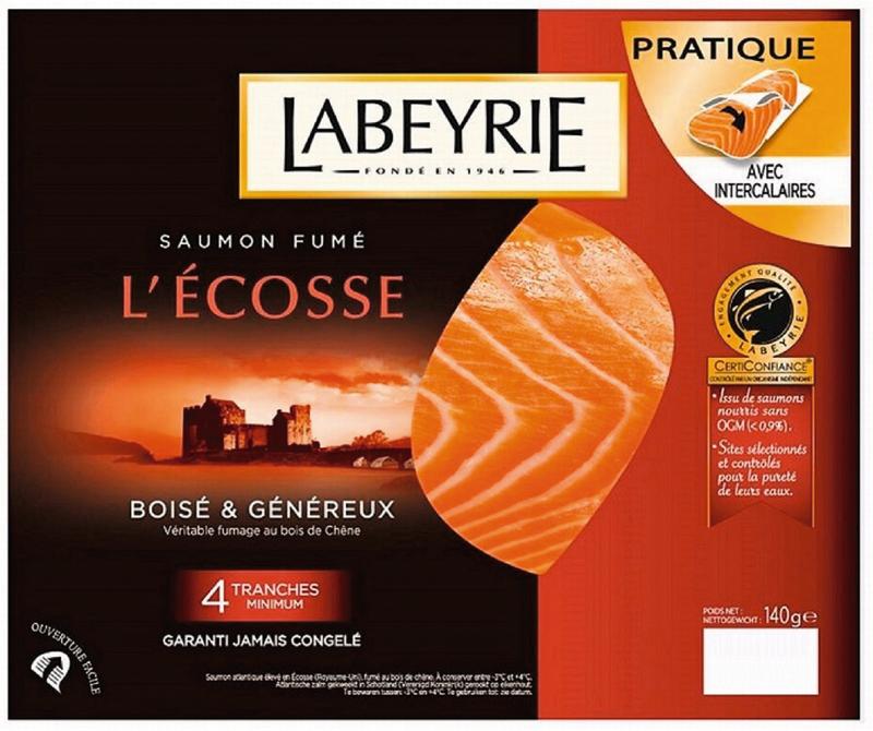 Saumon fumé Labeyrie - 4 tranches (via 1,94€ sur la carte fidélité + BDR)
