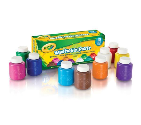 Lot de 10 pots de peinture lavable Crayola