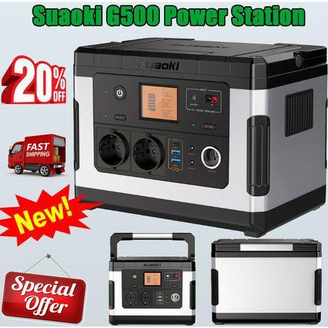Power Station solaire rechargeable Suaoki G500 Power Station - 500 Wh, 2 prises secteur + 3 ports USB