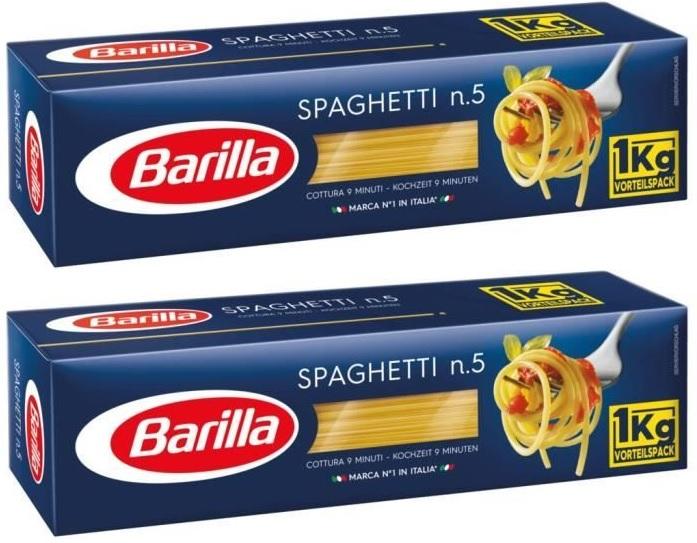 Lot de 2 Boîtes de Pâtes Barilla (Variétés au choix) - 2 x 1 kg