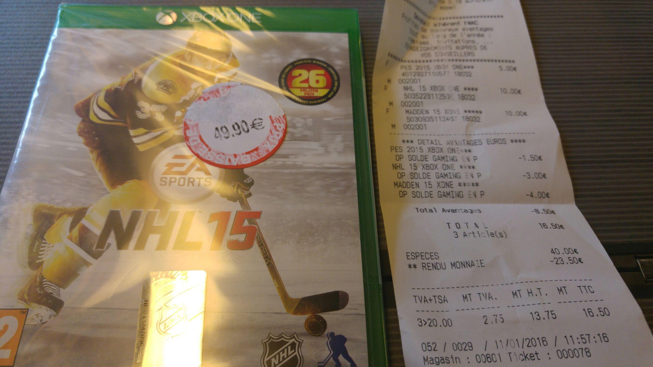 Sélection de Jeux Xbox One - Ex : Jeu NHL 15