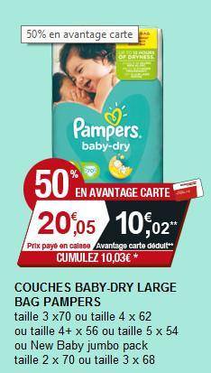 Sélection de couches Baby-dry large en promo - Ex : Lot de 70 couches Taille 3 (avec 10.02€ sur la carte)