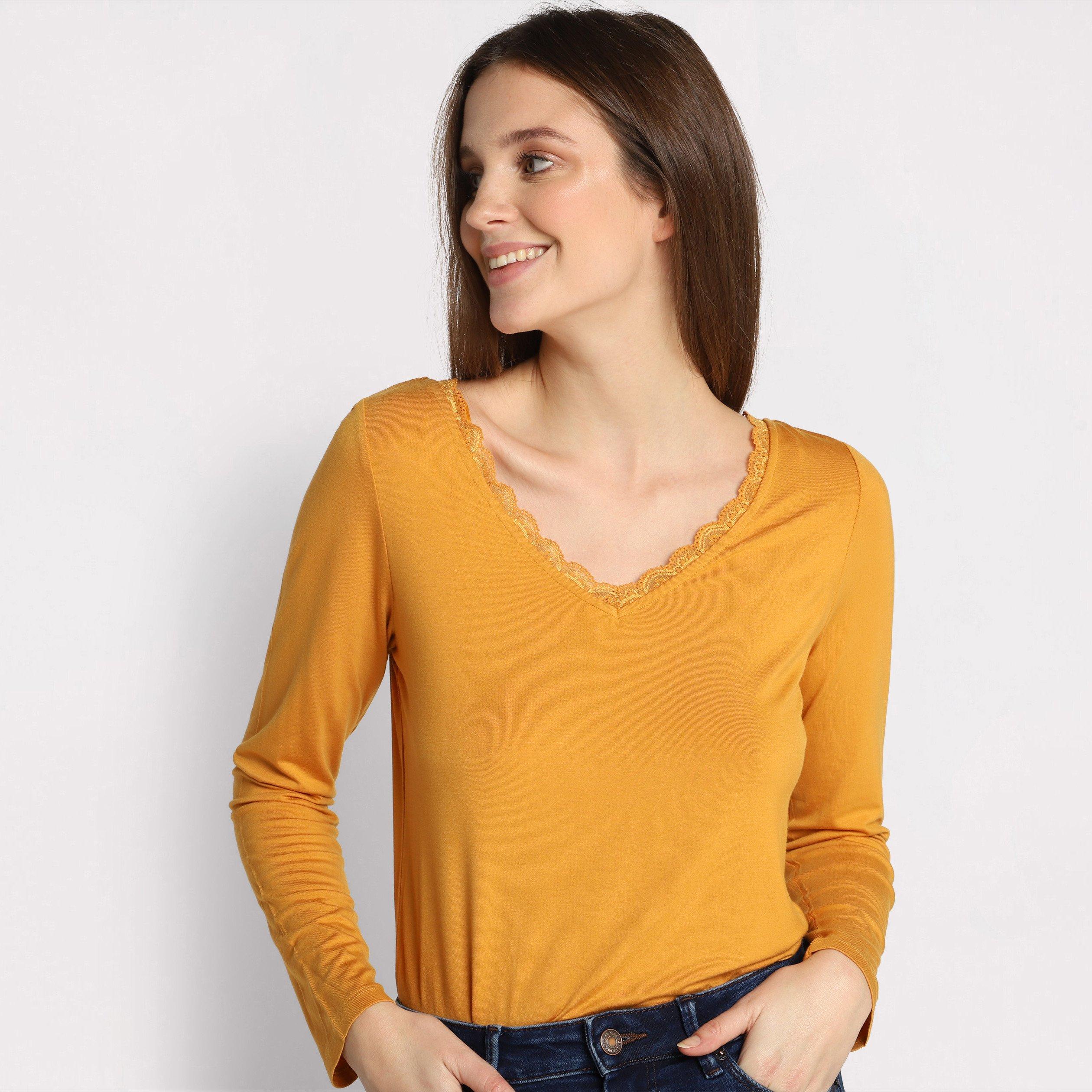 Jusqu'à 60% de réduction sur une sélection d'articles - Ex : T-shirt Manches Longues pour Femmes - Jaune moutarde, Taille au Choix