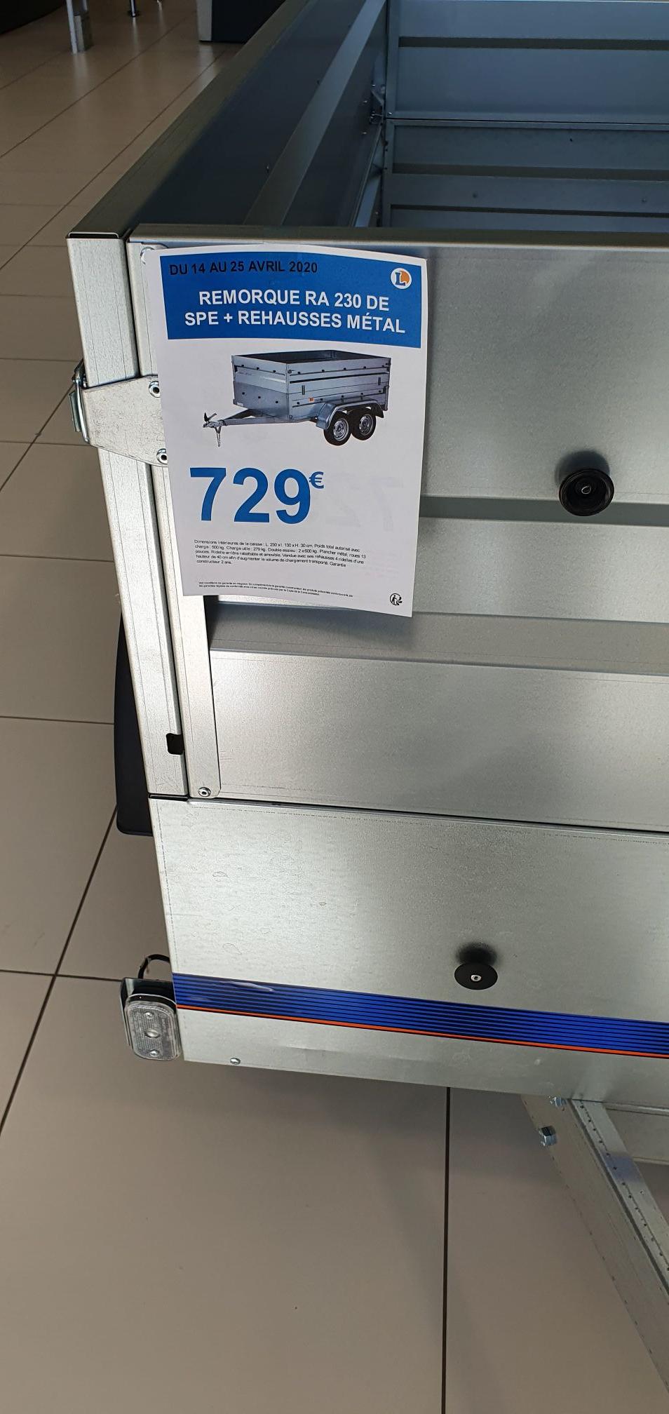 Remorque double essieux - 230 cm, avec rehausse bâche et antivol - Blain (44)