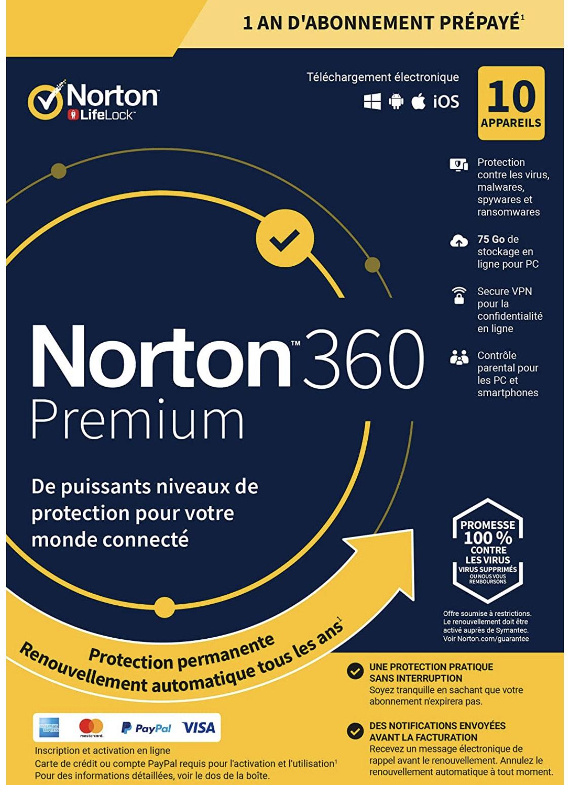 Licence Antivirus Norton 360 Premium 1 an pour 10 appareils (Dématérialisé)