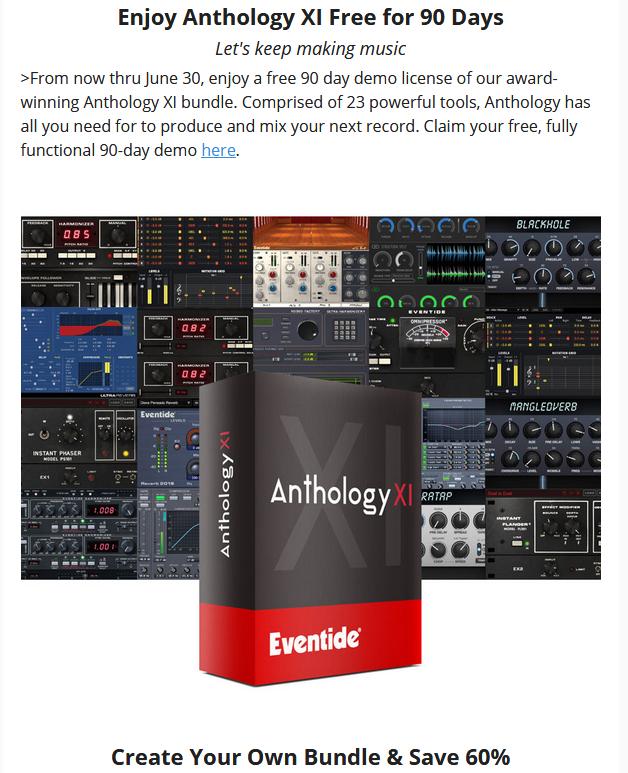 Bundle multi-effets Eventide Anthology XI gratuit pendant 90 jours & Réduction de 60% à partir de 2 plugins achetés
