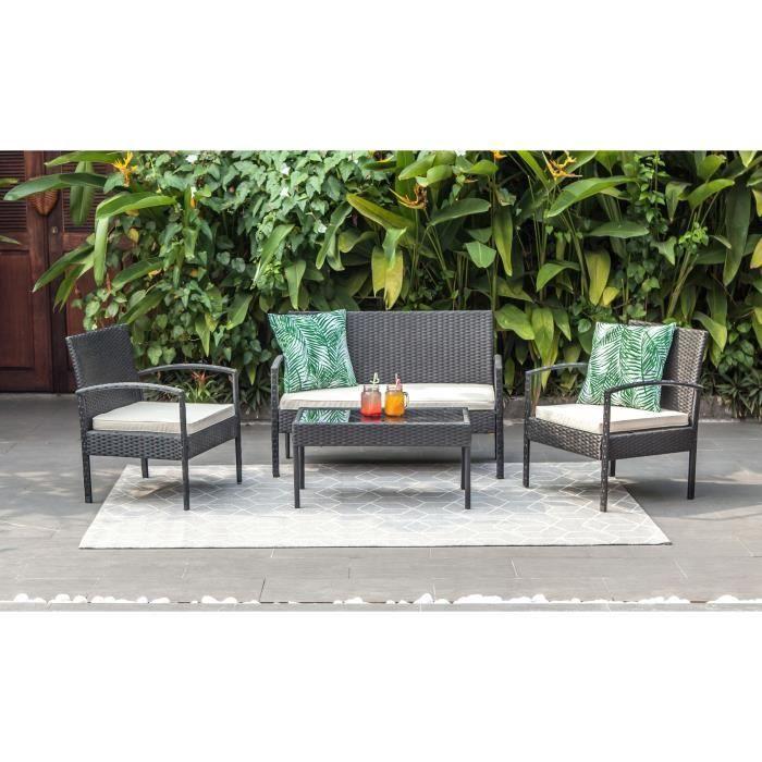 Salon de jardin 4 places en résine tressée SAFI - Noir avec coussins en écru